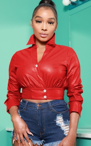 Red Leather Button Long Sleeve Crop Top
