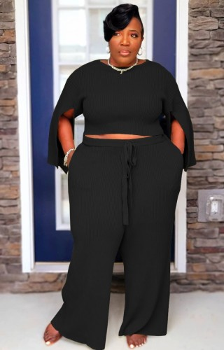 Plus Size Black Slit Long Sleeve O-Neck Top and Wide Pant Two Piece Set
