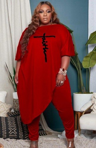 Plus Size Red Puff Sleeve Irregular Shirt and Tight Pants Two Piece Set