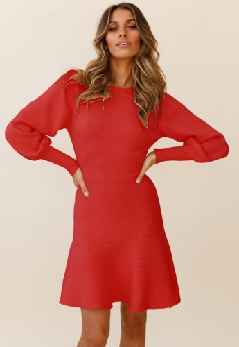 Red Knit Puff Sleeves O-Neck Midi Skater Dress