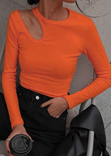 Orange Cut Out Long Sleeve Round Neck Tee