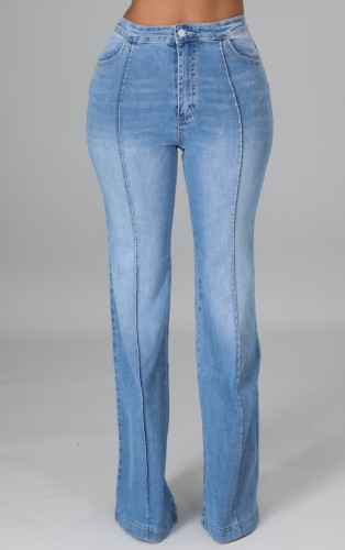 Light Blue Color Fade High Wasit Jeans