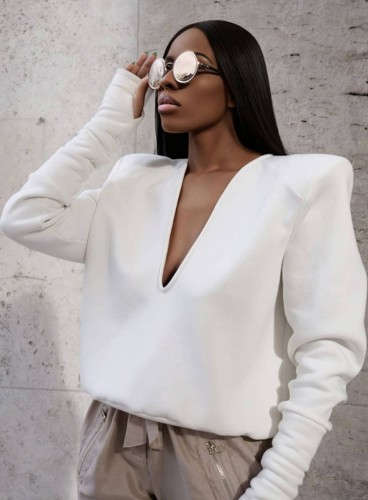 White Deep-V Long Sleeves Shirt