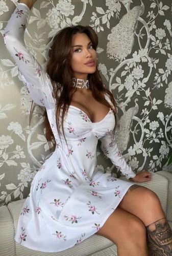 Floral White Puff Sleeve Twist Skater Dress