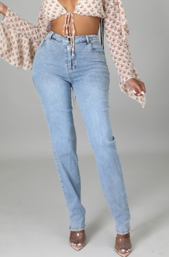 Light Blue High Wasit Bodycon Jeans