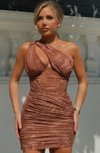 Brown Print One Shoulder Boned Hole Ruched Mini Dress