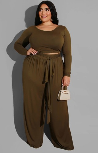 Plus Size Brown Long Sleeve O-Neck Top and Wide Pant with Belt Two Piece Set