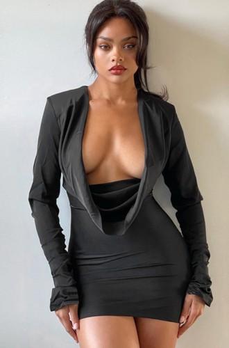 Black Dripped Collar Long Sleeve Slim Fit Mini Dress