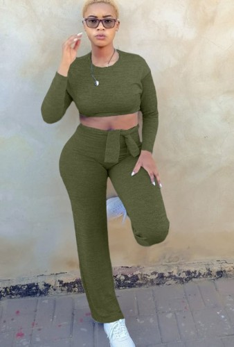 Green Long Sleeves O-Neck Crop Top and Pants Two Piece Set