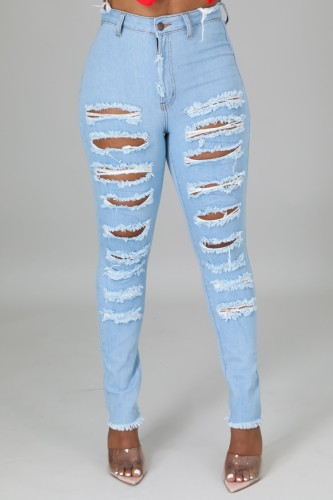 Light Blue Ripped Distressed High Waist Bodycon Jeans
