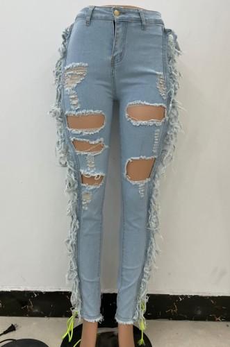 Light Blue Fringe Ripped Hole Midi Waist Jeans