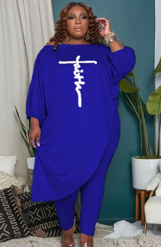 Plus Size Blue Puff Sleeve Irregular Shirt and Tight Pants Two Piece Set
