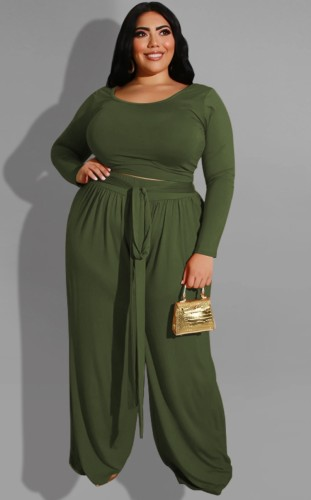 Plus Size Green Long Sleeve O-Neck Top and Wide Pant with Belt Two Piece Set
