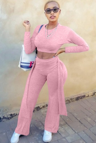 Pink Long Sleeves O-Neck Crop Top and Pants Two Piece Set