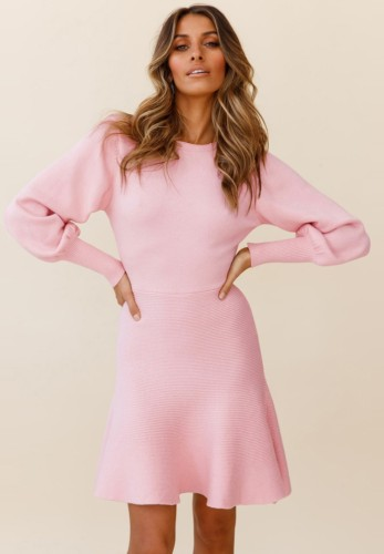 Pink Knit Puff Sleeves O-Neck Midi Skater Dress