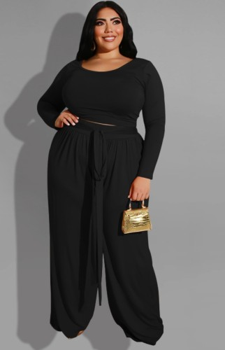 Plus Size Black Long Sleeve O-Neck Top and Wide Pant with Belt Two Piece Set