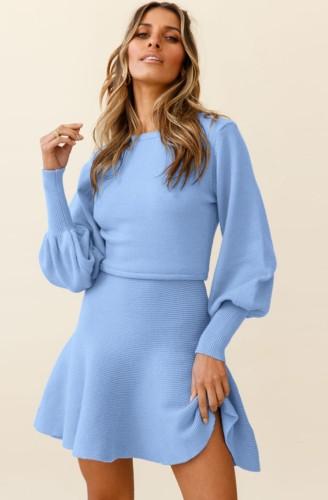 Blue Knit Puff Sleeves O-Neck Midi Skater Dress