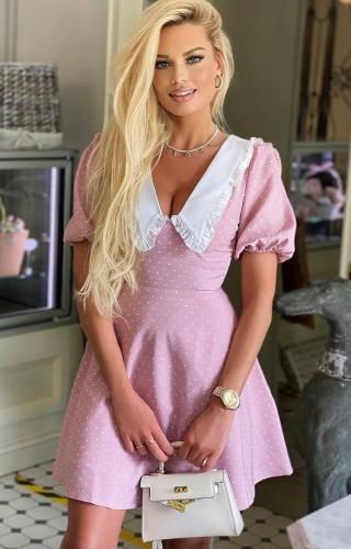 Polka Dot Pink V-Neck Puff Sleeve Shirring Dress