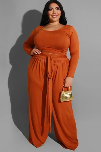 Plus Size Orange Long Sleeve O-Neck Top and Wide Pant with Belt Two Piece Set