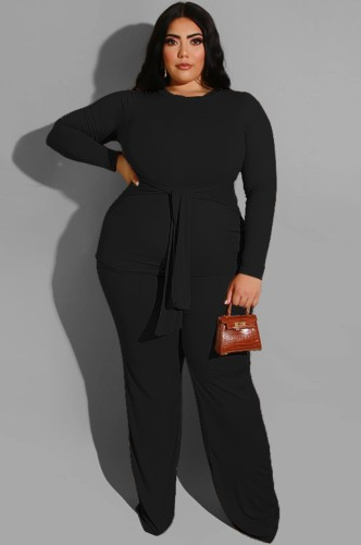 Plus Size Black Long Sleeve O-Neck Belted Top and Pant Two Piece Set