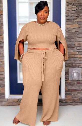 Plus Size Kahaki Slit Long Sleeve O-Neck Top and Wide Pant Two Piece Set