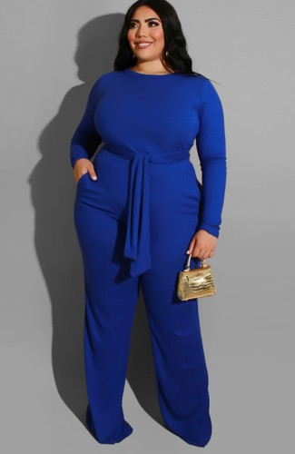 Plus Size Blue Long Sleeve O-Neck Belted Top and Pant Two Piece Set