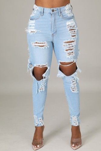 Light Blue Ripped Distressed Knee-exposed High Waist Bodycon Jeans