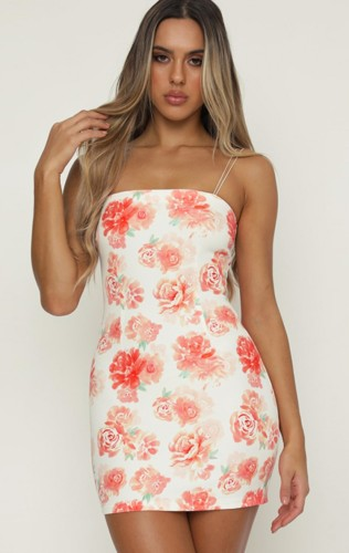 Floral Cami White Sheath Mini Dress