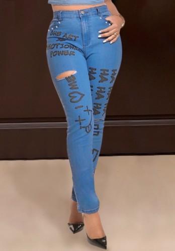 Letter Print Blue High Waist Ripped Sheath Jeans