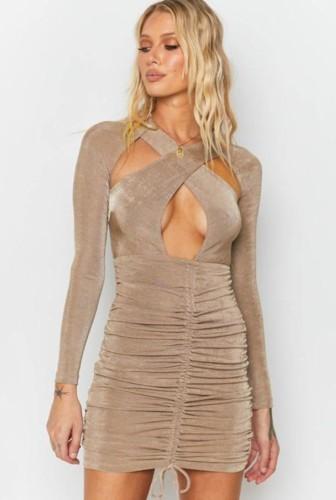 Khaki Cut Out Ruched Drawstring Mini Dress