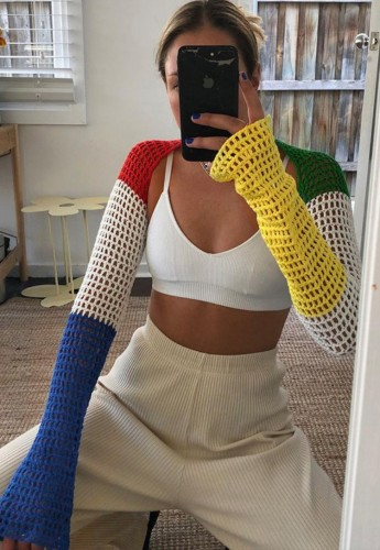 Color Block Fishnet Knit Open Front Long Sleeves Cape Top