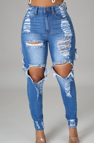 Dark Blue Ripped Distressed Knee-exposed High Waist Bodycon Jeans