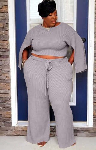 Plus Size Grey Slit Long Sleeve O-Neck Top and Wide Pant Two Piece Set