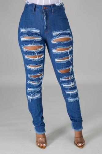 Dark Blue Ripped Distressed High Waist Bodycon Jeans