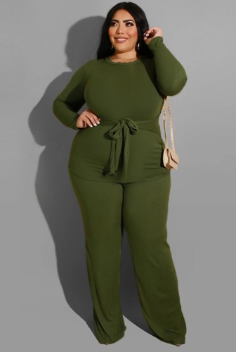 Plus Size Green Long Sleeve O-Neck Belted Top and Pant Two Piece Set