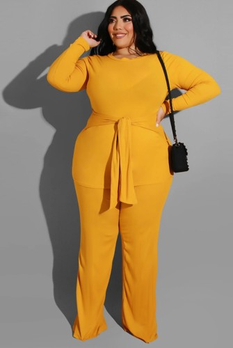 Plus Size Yellow Long Sleeve O-Neck Belted Top and Pant Two Piece Set