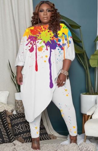 Plus Size Paints Print Off Shoulder Irregular Shirt and Pants Two Piece Set