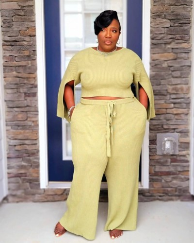 Plus Size Yellow Slit Long Sleeve O-Neck Top and Wide Pant Two Piece Set