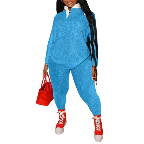 Dot Print Plus Size Blue Two Piece Pants Set
