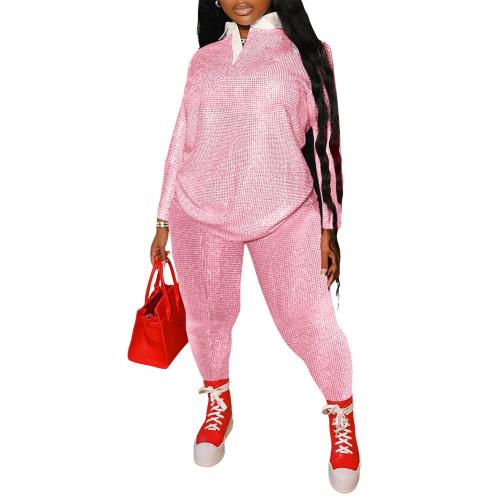 Dot Print Plus Size Pink Two Piece Pants Set