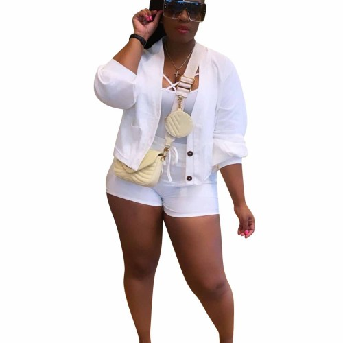 White Button Top and Shorts Two Piece Set