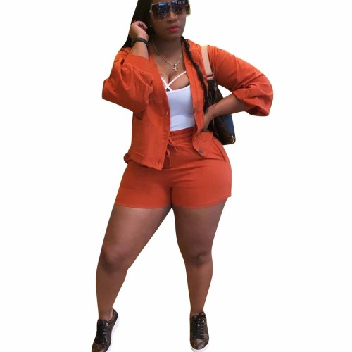 Orange Button Top and Shorts Two Piece Set