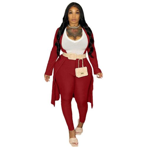 Red Ribbed Pants Set with Cardigan 3PCS Set