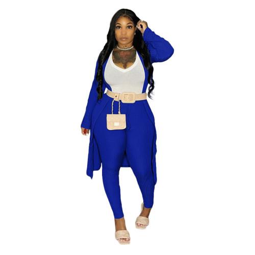 Blue Ribbed Pants Set with Cardigan 3PCS Set