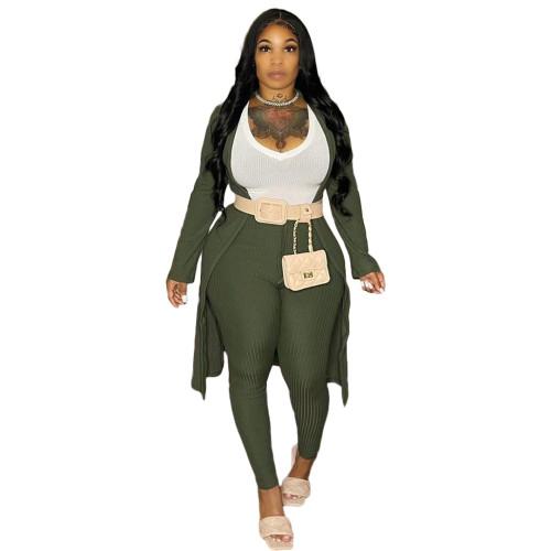 Army Green Ribbed Pants Set with Cardigan 3PCS Set