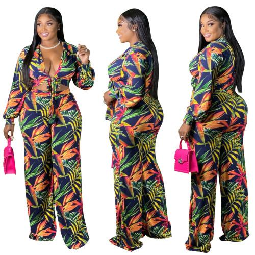 Plus Size Boho Print Two Pieces Wide Leg Pants Set