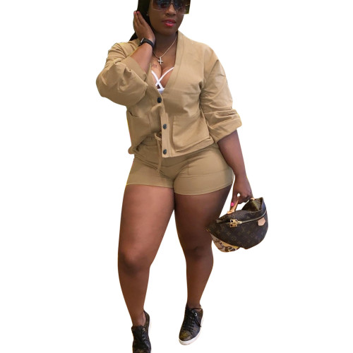 Khaki Button Top and Shorts Two Piece Set