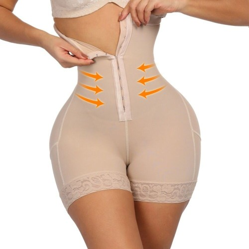 Beige Solid Sexy Patchwork Tummy Control Bustiers