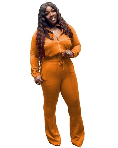 Plus Size Orange Zipper Jacket and Flare Pants 2PCS Set