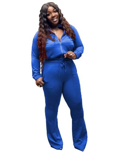Plus Size Blue Zipper Jacket and Flare Pants 2PCS Set